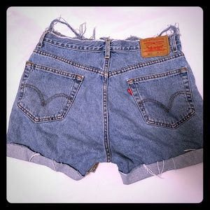 Levi's 505 distressed high waisted shorts W34